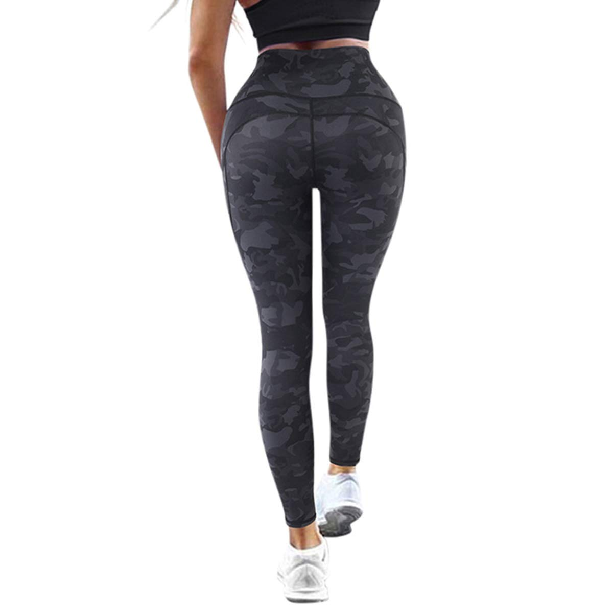 DOULAFASS Womens Camo Yoga Pants High Waisted Tummy Control Squat Proof Workout Leggings for Women(Small, Camouflage)