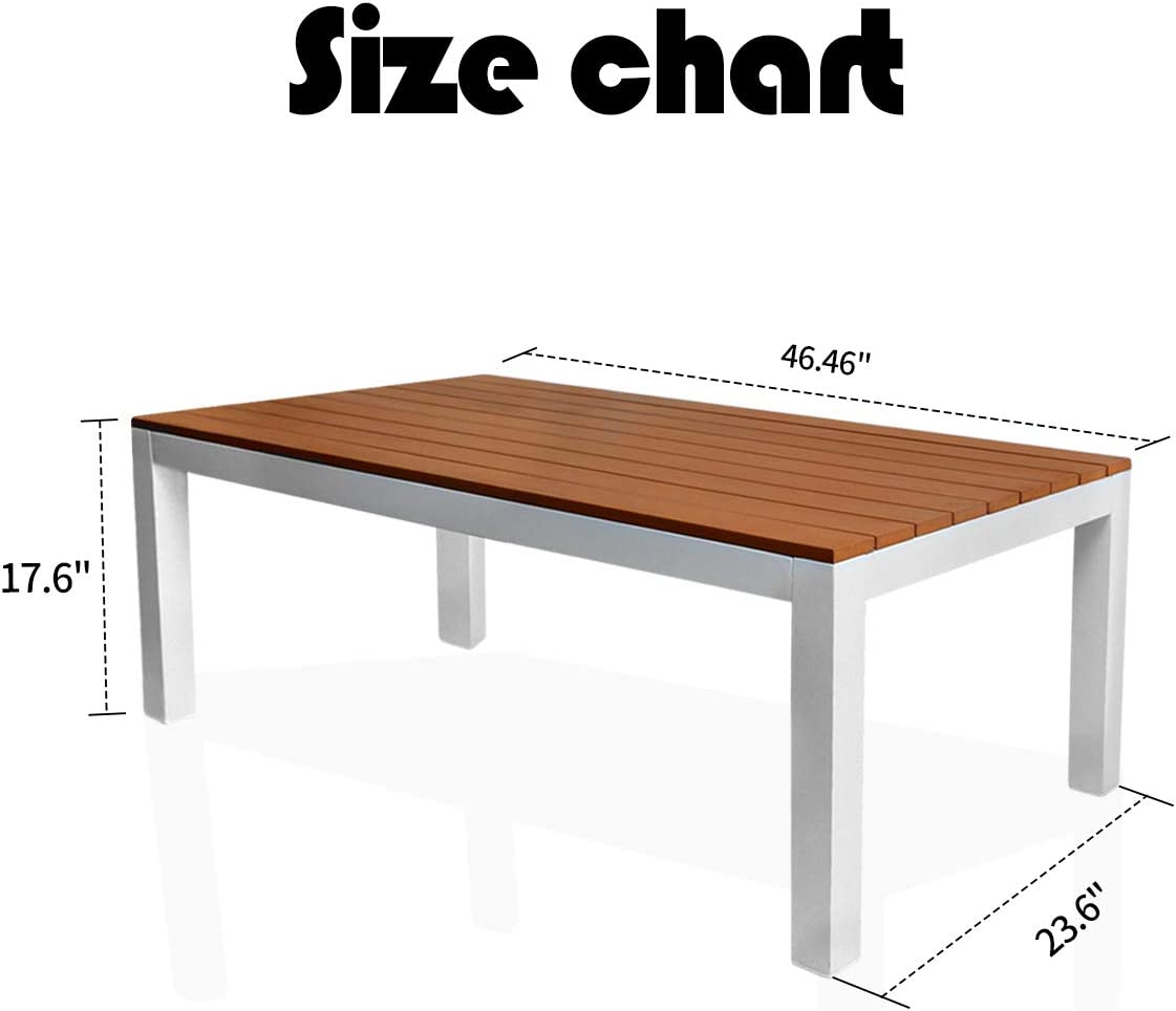 """Outdoor Rustic Teak Wood Picnic Patio Dining Table with Metal Legs for Backyard Garden 47""""X23.5""""X17.5"""": Kitchen & Dining"""