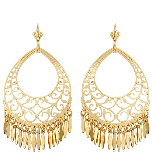 Barzel 18K Gold Plated Filigree Cut-out Dangling Earrings