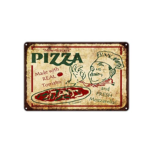 Now That's A Pizza Made With Real Tomato And Fresh Mozzarella Vintage Retro Metal Wall Decor Art Shop Man Cave Bar Aluminum 12