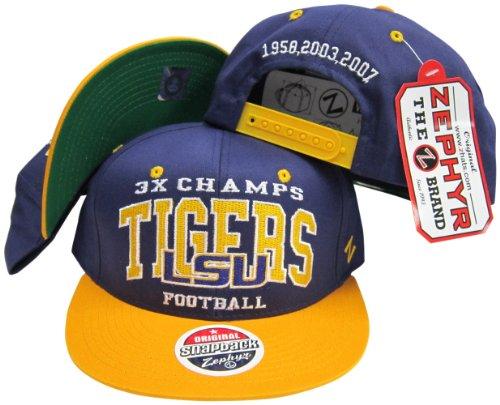 LSU Tigers 3X National Football Champs Adjustable Snapback Hat