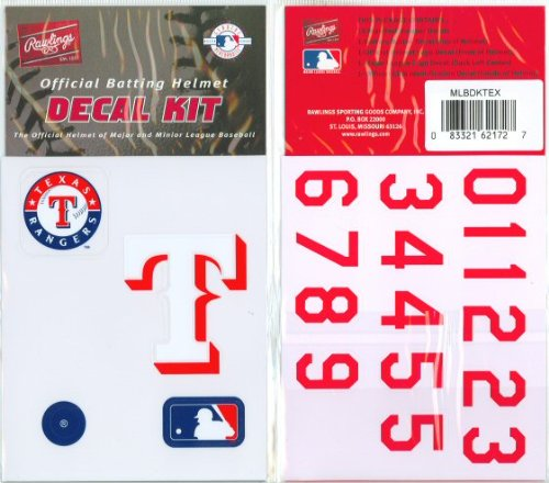 Texas Rangers MLB Batting Helmet Decal Kit (Includes Official Team Logos Stickers, MLB Logo & Numbers for Youth Little League Players to Adult Recreation ()