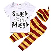 KCSLLCA Newborn Baby Boys Girls Short Sleeve Bodysuit Snuggle This Muggle Shirt and Striped Pants Outfit With Hat (Label 70/0-6mos.)