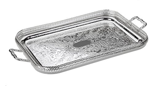 - English Silver Plated Serving Tray With Handles | Queen Anne