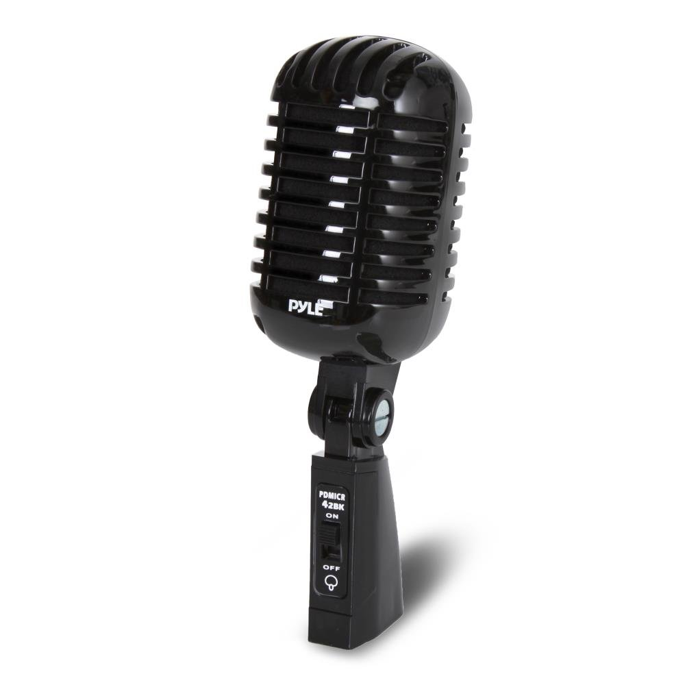 Pyle PDMICR42BK Classic Retro Vintage Style Dynamic Vocal Microphone with 16ft XLR Cable (Black) by Pyle