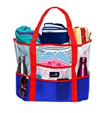 Dejaroo Mesh Beach Bag - Toy Tote Bag - Large Lightweight Market, Grocery & Picnic Tote with Oversized Pockets (Red, White & Blue)