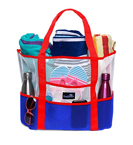 (Dejaroo Mesh Beach Bag - Toy Tote Bag - Large Lightweight Market, Grocery & Picnic Tote with Oversized Pockets (Red, White & Blue))