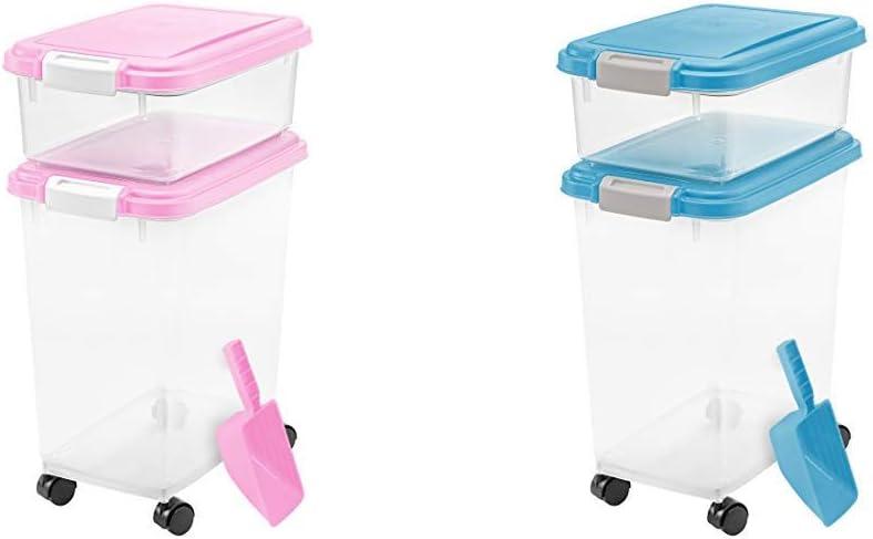 IRIS USA, Inc. 3Piece Airtight Pet Food Storage Container Combo, Pink 3- Piece Airtight Pet Food Storage Container Combo, Blue Moon
