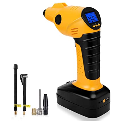 YFANG Portable Air Compressor Cordless Tire Inflator with Digital Display, LED Lighting, Tire Pressure