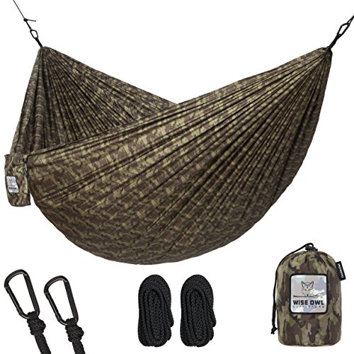Hammock for Camping Single & Double Hammocks – Top Rated Best Quality Gear For The Outdoors Backpacking Survival or Travel – Portable Lightweight Parachute Nylon DO Camo