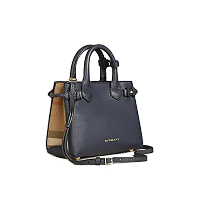 Amazon.com  Tote Bag Handbag Authentic Burberry The Baby Banner in Leather  and House Check Ink Blue Item 40140721  Shoes 1829989236b03