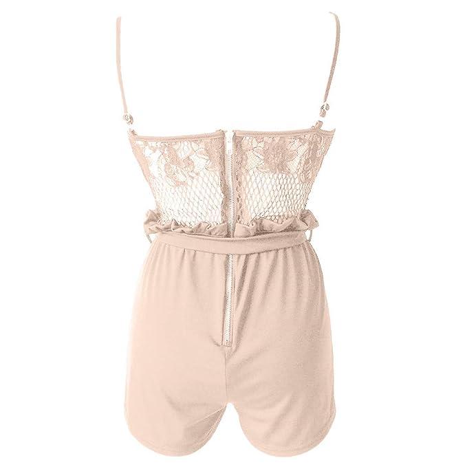 Amazon.com: Jumpsuit para mujer sexy de encaje parches ...