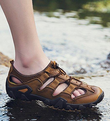 Yiiquanan Scarpe Coreano Sandali All'aperto per Spiaggia Uomo Sandalo da Brown Non Slip Traspirante da Acqua rrdvgq