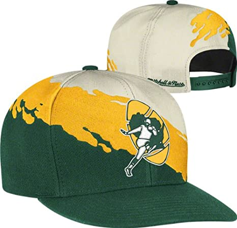 sale retailer f0cb6 30fdc Mitchell & Ness Paintbrush Green Bay Packers White, Green & Yellow Snapback