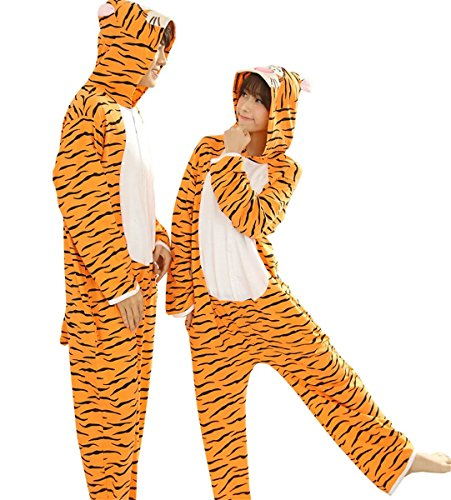 Cameinic Orange tiger Cosplay Costume Adult Onesies Jumpsuit Pajamas Sleepwear (Tiger Costume Adults)