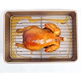 Roasting Pan Nonstick with Rack Baking Turkey 13 inch Gold Carbon