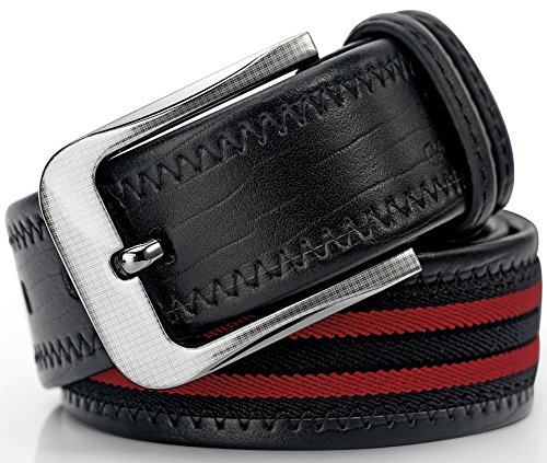 [Men's Stylish Leather & Canvas Dress Belt Double Stitch By CAPONI - Various Colors & Styles With Gift Box] (Canvas Classic Belt)