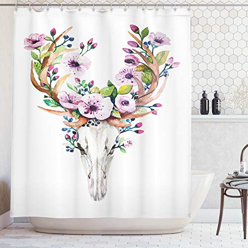 Ambesonne Skulls Decorations Collection, Deer Animal Skull with