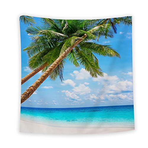 Palm Tree Wall Tapestry Wall Hanging, Wall Art Hanging Bedspread Beach Towel for Living Room Bedroom Decor, Tropical Sandy Beach Maldives Coastline Peaceful Theme, 51 x 59 -