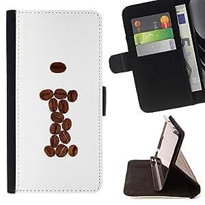 - cool coffee beans brown I hipster - - Prima caja de la PU billetera de cuero con ranuras para tarjetas, efectivo desmontable correa para l Funny HouseFOR Samsung Galaxy A3