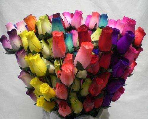 144 Stems Mixed Colors Wooden Rose Buds 18 x 8 Artificial Flowers -