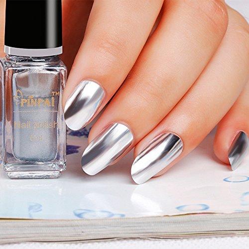 Nail Polish G133 Super Bright Mirror Silver Nail Polish - Silver + Mirror Base Oil In One ()