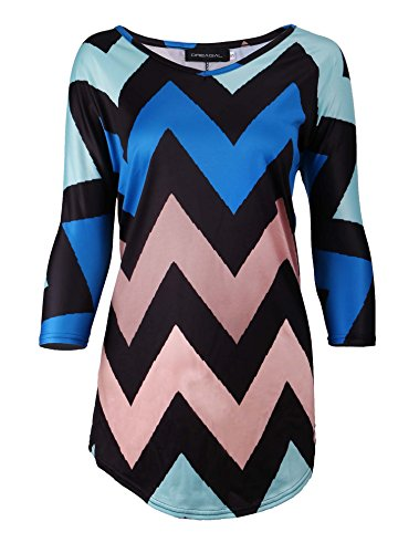 Zig Zag Knit Top (DREAGAL Women's Chevron Pattern Print Zig Zag 3/4 Sleeve Tunic Top Blue Small)