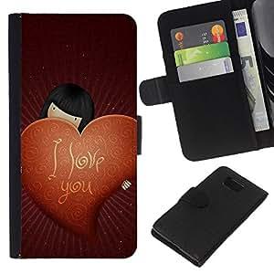 KLONGSHOP // Tirón de la caja Cartera de cuero con ranuras para tarjetas - Amor Te Amo - Samsung ALPHA G850 //