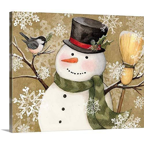 Woodland Snowman Canvas Wall Art Print, 24