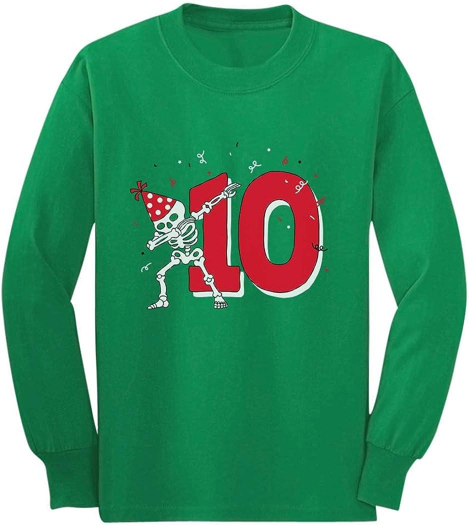 Dabbing Skeleton 10th Birthday Tenth Year Dab Youth Kids Long Sleeve T-Shirt