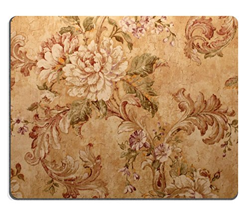 Liili Natural Rubber Mouse Pad Vintage Golden Run Down Victorian Wallpaper with Baroque Floral Pattern Image ID 19262395