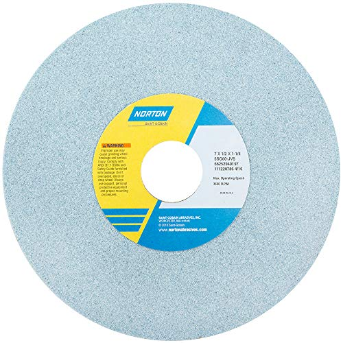 Norton 5SG Vitrified Toolroom Abrasive Wheel, Type 1 Straight, Ceramic Aluminum Oxide, 1-1/4
