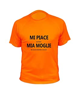 AtooDog Maglietta da Caccia, Mi Piace Quando mia Moglie Mi Lascia Andare a Caccia (40170, Arancione, L)