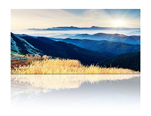 Gardenia Art - Blue Rolling Hills under Sunrise Canvas Prints Modern Wall Art Paintings Mountain and Forest Scenery Artwork for Room Decoration,48x24 inch, unframed by Gardenia Art