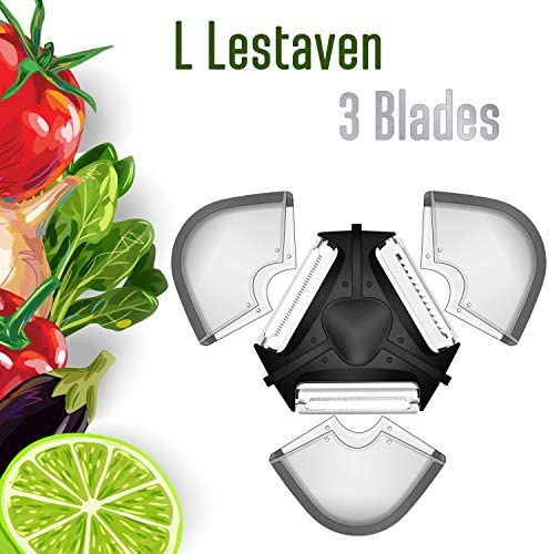 3 Peely Fruit and Vegetable Peeler Multifunctional Julienne Slicer Perfect for Apples, Carrots and Potatoes - Easygrip Handle for Comfort - Dishwasher Safe - Safety Cover