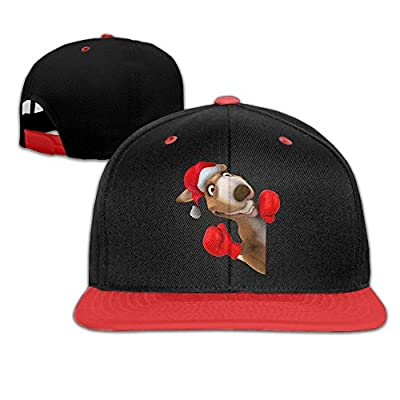 Unisex Christmas Reindeer Cartoon Image Cotton Snapback Flat Tongue Hats Adjustable Baseball Caps