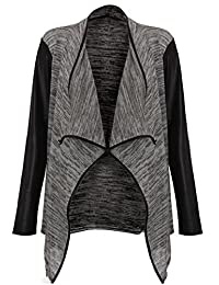 Forever Women's Long Wetlook Sleeves Stretchy Waterfall Blazer