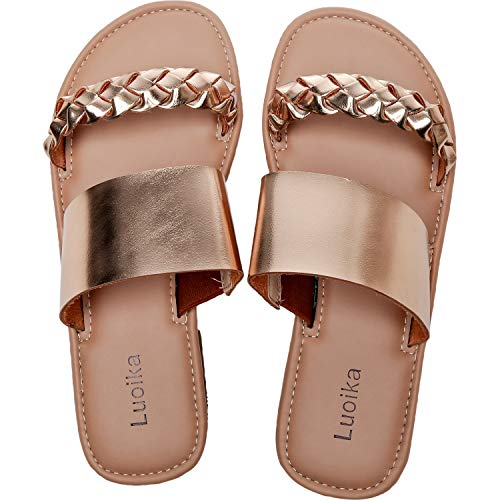 Luoika Women's Wide Width Slide Sandals - Slip On Flat Open Toe Double Bands Casual Summer Shoes.(190114,Gold,10)