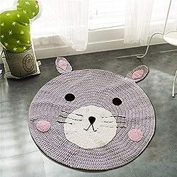 Round Rug,Baby Floor Mat Toys Storage Organizer,Nursery Rugs Large Cotton Anti-slip Cartoon Animal Game Mat Area for Kids Room Living Room, 31.5x31.5inch (Bear)