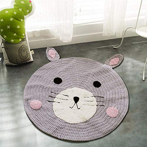Round Rug,Baby Floor Mat Toys Storage Organizer,Nursery Rugs Large Cotton Anti-slip Cartoon Animal Game Mat Area for Kids Room Living Room, 31.5x31.5inch (Bear) by okdeals