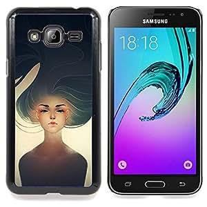 /Skull Market/ - Sad Girl Heartbreak Sun Painting Art For Samsung Galaxy J3 - Mano cubierta de la caja pintada de encargo de lujo -