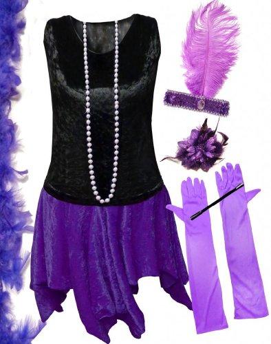 Sanctuarie Designs Women's /4xT/Purple/Purple Flapper Deluxe Kit Plus Size Supersize Halloween Costume Dress -