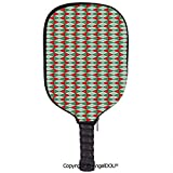 AngelDOU Geometric Soft Neoprene Pickleball Paddle Racket Cover Case Rhombus Rectangles Geometrical Abstract Motifs Christmas Theme Decorative Fit for Most Rackets.Reseda and Almond Green Red
