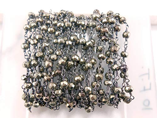 10 Feet Pyrite Rondelle Faceted Rosary Style Beaded Wire Wrapped Chain,Rosary Chain,Rosary by LadoNarayani
