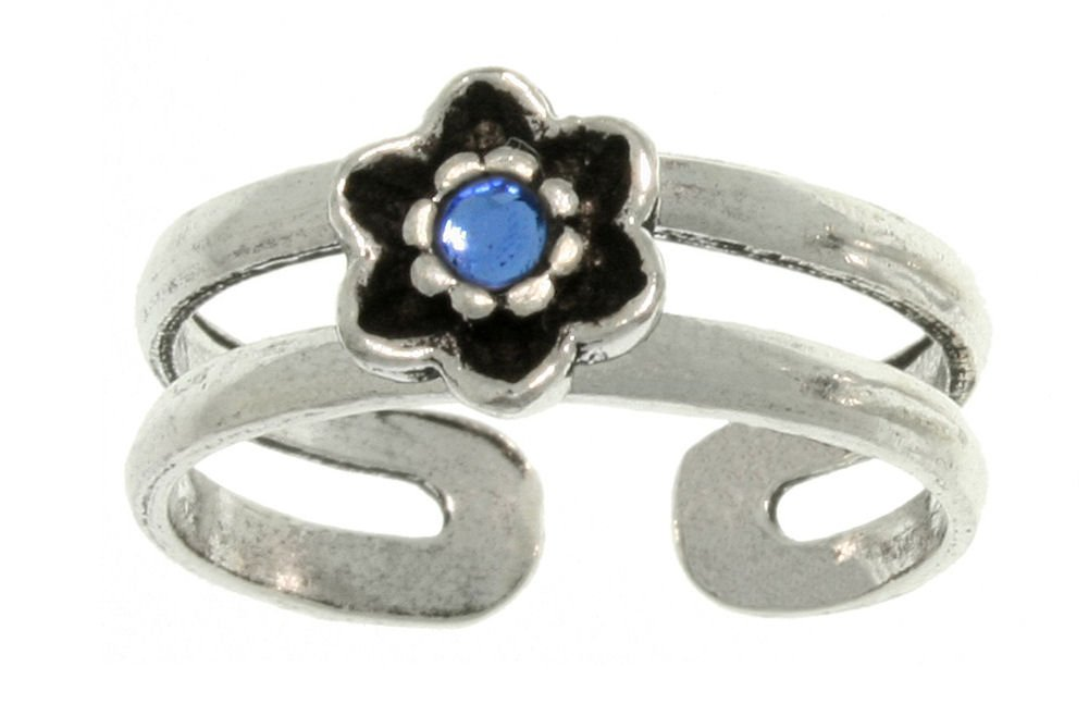 Jewelry Trends Sterling Silver Blue Glass Flower Toe Ring Adjustable Size