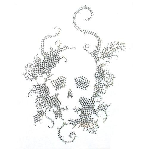 Rhinestone Iron on Transfer Hot Fix Motif Crystal Fashion Design Skull Silver 3 Sheets 7.4*10.2 Inch