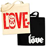 Pins & Bones Skulls in LOVE 2 Pack Carry All Cotton Tote Bag, Black For Sale