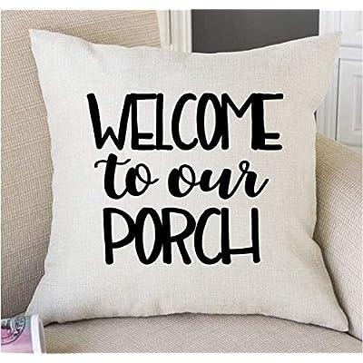 Porch Decor Porch Pillows Patio Decor Welcome to Our Porch Pillow Patio Cushions Outdoor Pillows Accent Pillows Porch Decorations: Home & Kitchen