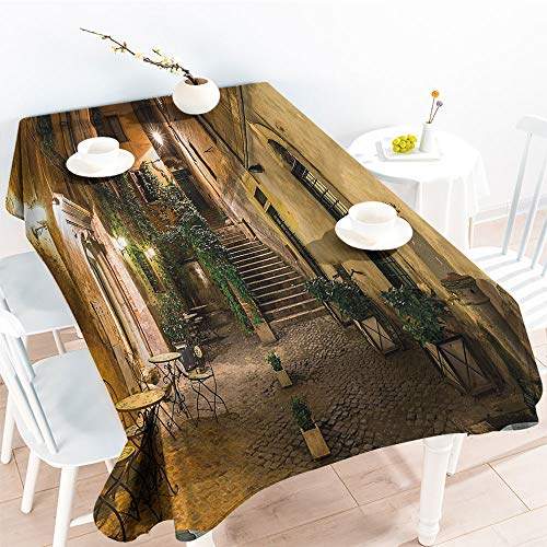 Jinguizi Rectangular Table Covers Old Courtyard in Rome Italy Cafe Chairs City Ambience Houses Streetfor Party/Picnic TableclothOrange Brown Green(50 by 80 Inch Oblong Rectangular) -