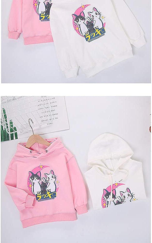 Mädchen koreanische Version von Kinderbekleidung Mädchen Baumwollkleidung Winter und Winter Kleid Cartoon Cartoon niedlichen rosa weißen langärmeligen Hoodie Weiß
